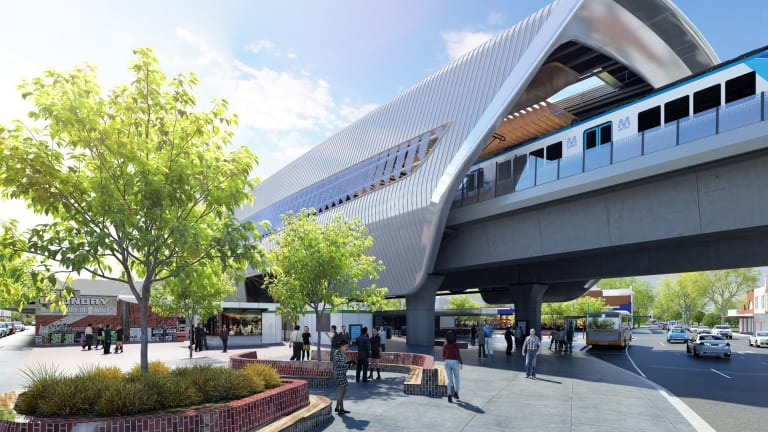 An artist's impression of how skyrail will transform Murrumbeena station.