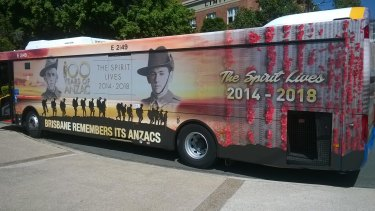 This Anzac tribute print will be seen on a Brisbane City Council bus for the next four years.