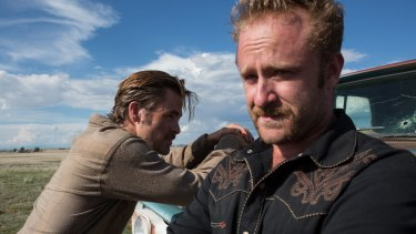 Chris Pine (left) and Ben Foster play outlaw brothers in <i>Hell or High Water</i>.