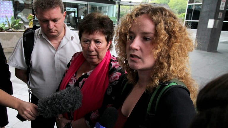 Mikala Liemannand Tania Lousdal Jensen, mother and sister of 22-year-old Danish student Rebekka Meyer, who was killed while cycling in Brisbane.