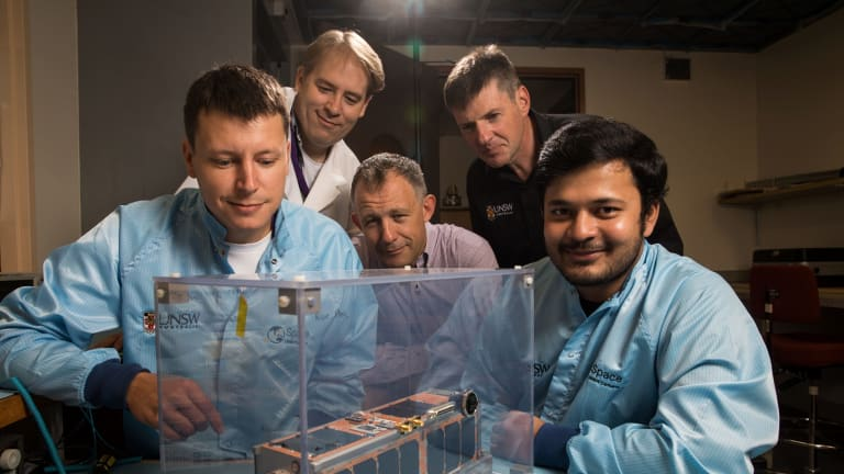 On campus in SEIT labs and at the Falcon Telescope are (from left) Igor Dimitrijevic, Simon Barraclough, Douglas Griffin, Russell Boyce  and Arvind Ramana.