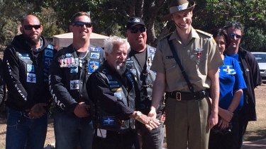 """""""Baron"""" Hyland of the Brothers in Arms Military Motorcycle Club with Lieutenant Glenn Tannock."""