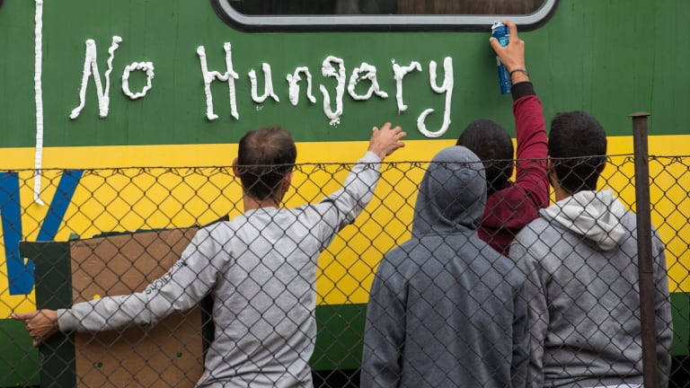 Migrants protest outside a train in Bicske, Hungary, that they refuse to leave for fear of being taken to a refugee camp.