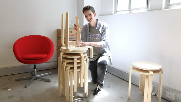 Will Chivers from Airtasker assembles IKEA stools.