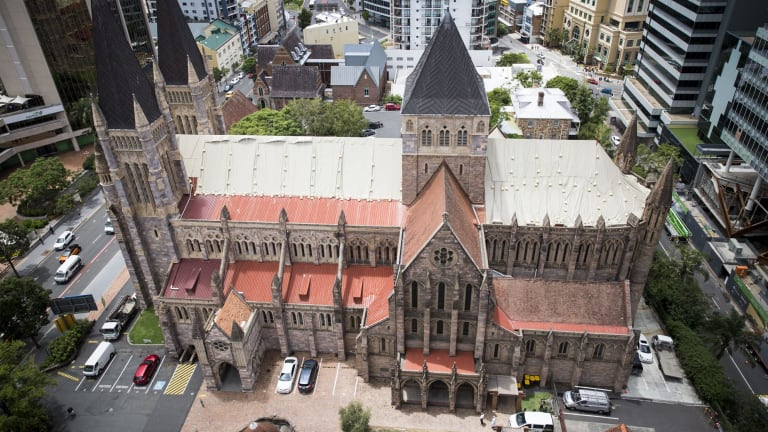 St John's Anglican Cathedral under repair after storm damage.