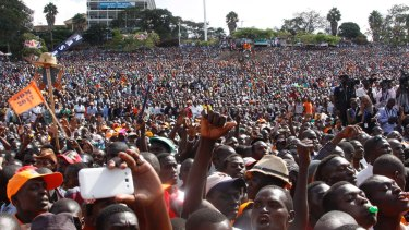 NASA party supporters gather during a rally in Nairobi on Thursday.