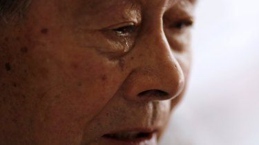 A tear falls from the eye of Yoshiteru Kohata, a 86-year-old Nagasaki atomic bombing survivor and retired school teacher, who returned to his home region of Fukushima after World War II.