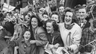 Crowds of people celebrated in the streets of Australia when the Japanese surrendered and World War II was finally over.