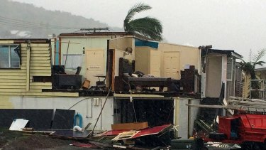 A damaged house after Tropical Cyclone Marcia hit the coastal town of Yeppoon in Central Queensland.