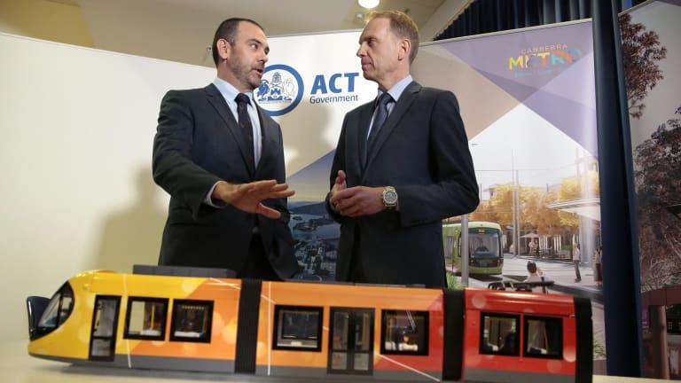 Canberra Metro consortium chairman Mark Lynch and Capital Metro Minister Simon Corbell.