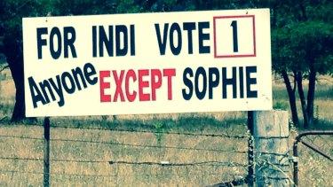 An anti-Sophie Mirabella billboard on the Midland Highway in Indi.