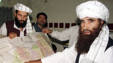 Jalaluddin Haqqani,, the Taliban's minister for tribal affairs, right, with his son Naziruddin in Islamabad in 2001.