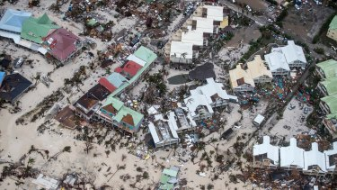 Photo provided by the Dutch Defense Ministry shows storm damage in St Maarten.