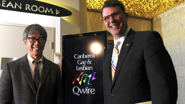U.S. ambassador John Berry and his partner Curtis Yee at a function at the Hellenic Club, Woden where the Canberra Gay and Lesbian Qwire performed. Hours earlier the US Supreme Court had made same-sex marriage legal in all 50 American states.