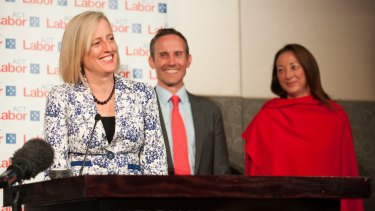 Room for one more: ACT MPs Katy Gallagher, Andrew Leigh and Gai Brodtmann.
