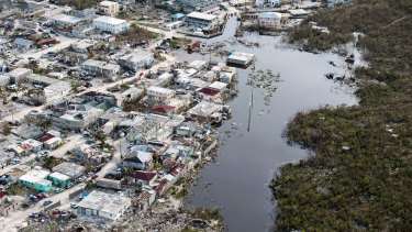 Aerial view showing flooded areas to local villages on Providenciales, Turks and Caicos islands.