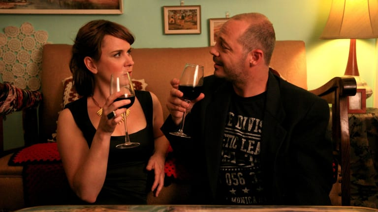 Time for a drink: C.J.Fortuna and Emily Taheny in <i>The Heckler</i>.