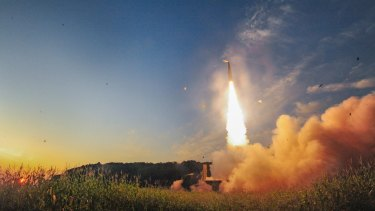 South Korea fires a missile during an exercise on Monday.