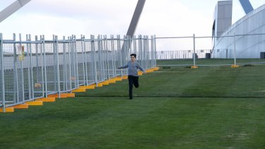 A temporary fence is installed at Parliament House.
