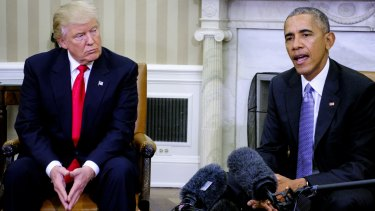 Barack Obama and Donald Trump in the Oval Office on November 10.