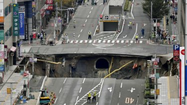 The massive sinkhole appeared in Fukuoka's CBD.