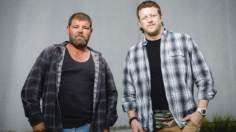 Rickey Caton (L) and Adam Antrum (R) settled with NSW Police, claiming they were assaulted by two police officers after Ricky pointed a toy dinosaur at them during a stop.