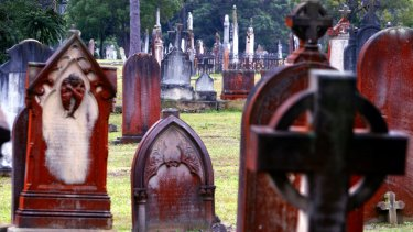 Headstones at Rookwood cemetery.