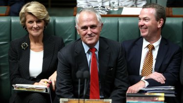 Julie Bishop, Malcolm Turnbull and Christopher Pyne.