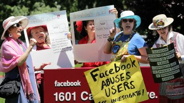 Members of the group Raging Grannies stage a demonstration regarding Facebook's privacy policies outside its headquarters in California. According to a study by British security firm Friedland, 78 per cent of burglars use social media such as Facebook and Twitter to get status updates and to target properties.