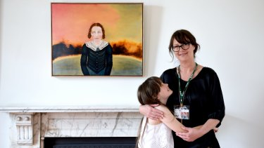The winner of Australia's richest art prize, Megan Seres, with her daughter Scarlett who she portrayed in <i>Scarlett as Colonial Girl</i>.