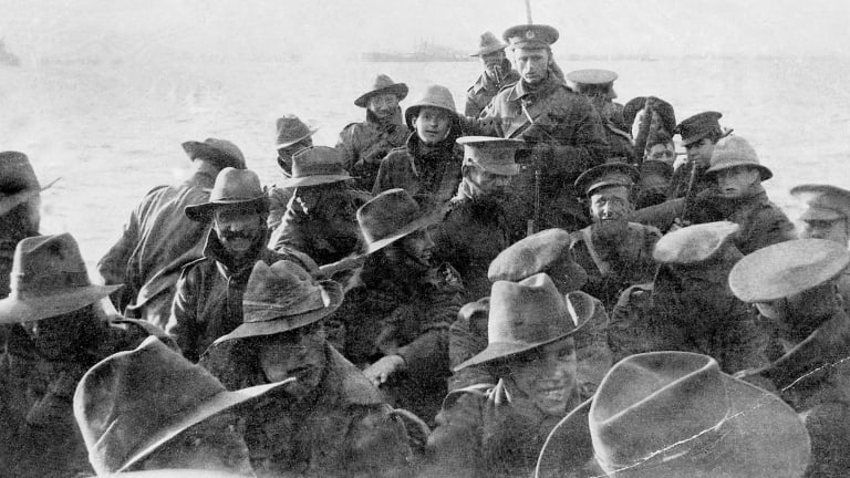 Men of the 1st Divisional Signal Company about to land at Anzac Cove on April 25, 1915.