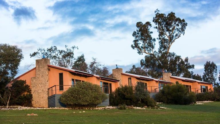 Kangaroos and emus graze around the villas at Meringa Springs.