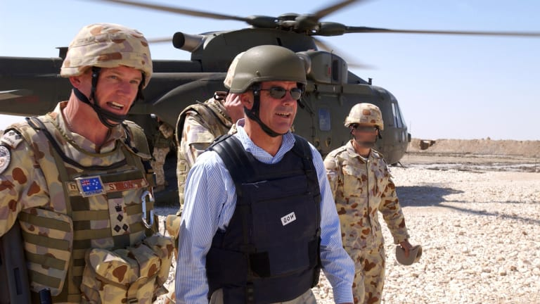 Paul Symon with then-Defence minister Brendan Nelson in southern Iraq in 2006.