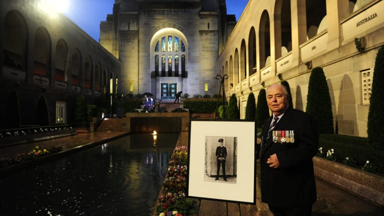 Representing the Bell family is Alan Hall of Melbourne after the Last Post ceremony at the Australian War Memorial in Canberra for Flight Lieutenant John Napier Bell.