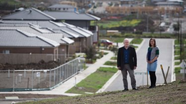 Pat O'Neill and Emma Antonetti, workers with the Brotherhood of St Laurence, say lack of physical and social infrastructure compounds the difficulties low-income families are facing in Mernda.