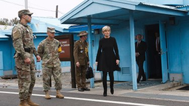 Foreign Minister Julie Bishop outside the Neutral Nations Supervisory Commission room at the border village of Panmunjom in South Korea last month.