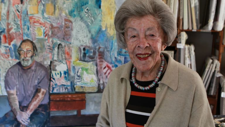 Artist Judy Cassab at home among her artworks, in 2011.