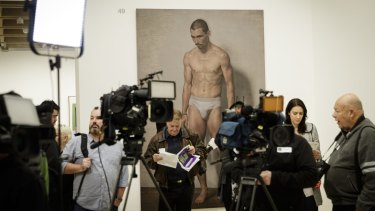 Former Archibald Prize winner Marcus Wills has painted a forlorn James Batchelor, perhaps worried he has lost his clothes.