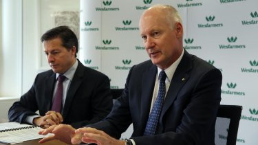 Old guard: Wesfarmers boss Richard Goyder (right) and finance director Terry Bowen are both handing over the reins.