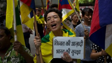 Exiled Tibetans show support with India on the Doklam standoff in New Delhi