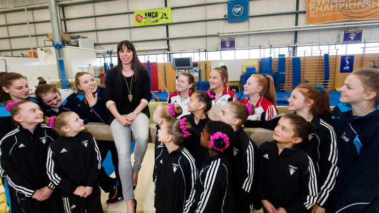 Star power: Beth Tweddle talks with young gymnasts at the Gymnastics Centre of Excellence in Prahran.