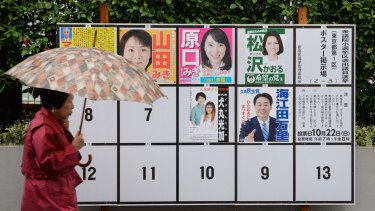 A pedestrian walks past campaign posters of various candidates running in a general election in Tokyo on Sunday.