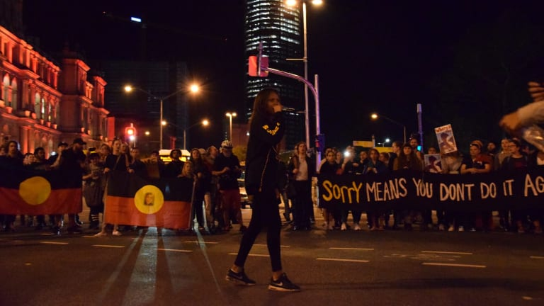 Protesters at the Justice for Elijah march in Brisbane's CBD on Wednesday night.