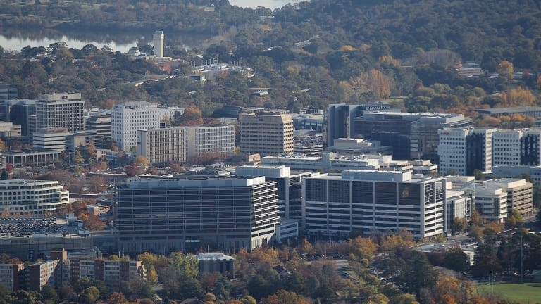 Office buildings in Canberra, where there are concerns that a fifth of the commercial leasable area across the city might soon be vacant.