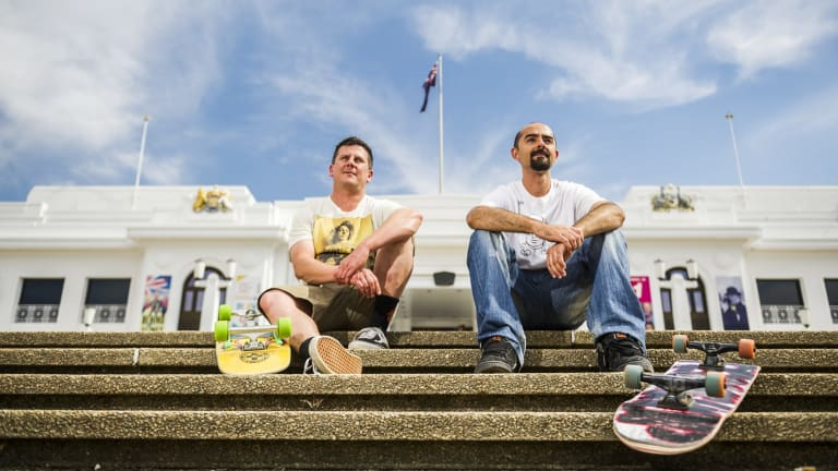 Christian Sheldrick and Tony Caruana from the Canberra Skateboarding Association, who are upset that the NCA is 'skatboard proofing' the national monuments in the triangle.