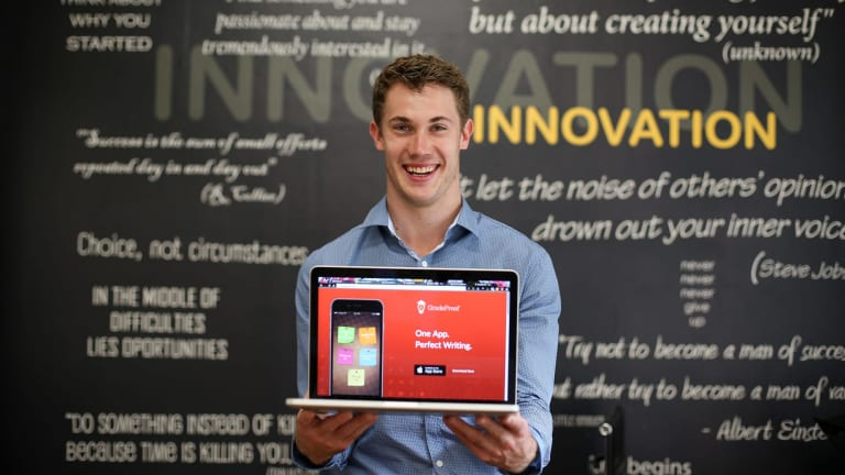 Nick Hough, founder of GradeProof works out of the Fishburners startup hub. The startup hub is part of the Malcolm Turnbull innovation package helping new startup businesses.