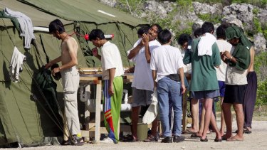 Refugees living in camps on Nauru.