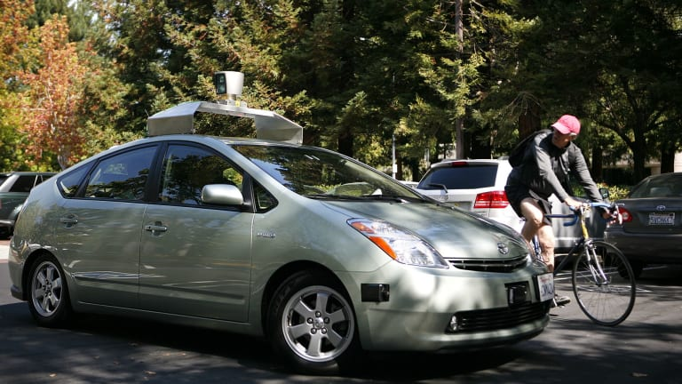 A self-driving car developed and outfitted by Google