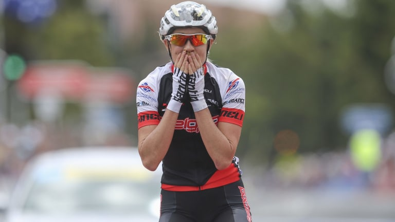 Delighted: Rachel Neylan enjoys the elation of winning the first Cadel Evans Great Ocean Road Race.