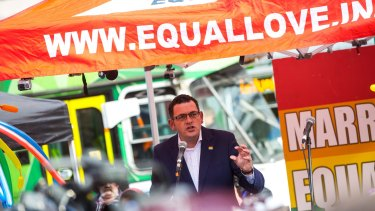 Premier Daniel Andrews addresses the crowd at the Equal Love Rally in June.